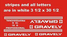 GRAVELY PROFESSIONAL 16 WHITE 31/2 x 301/2  VINYL DECALS PLUS 2 GRAVLEY DECALS