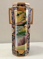 "Antique Porcelain Octagon Vase 13"" Hand Painted"