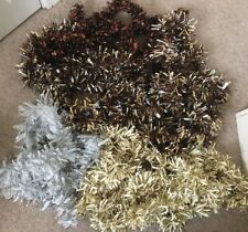 Assortment of Brown Gold White Silver Christmas Tree Tinsel Garlands - 8 Lengths