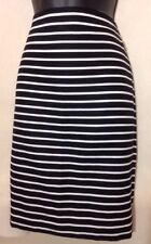 J. CREW The Pencil Skirt Lined Cotton Black And White Horizontal Stripe, Size-0