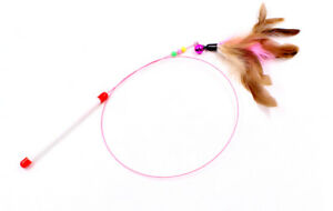 Pet Cat Toy Cute Design Steel Wire Feather Teaser Wand With Bells Pet Supplies