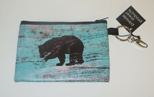 Bear Coin Purse Pouch Key Ring Clip New Blue Wild Animal