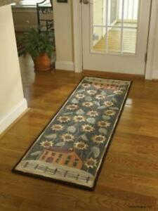 House and Sunflower Hooked Rug Runner - FREE SHIPPING