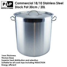 30cm/20L Stock Pot Commercial Kitchen Cookware 18/10 Stainless Steel Heavy Duty