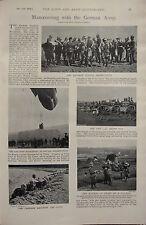 1898 BOER WAR ERA PRINT ~ MANOEUVRING WITH GERMAN ARMY BALLOON KRUPP GUN EMPEROR