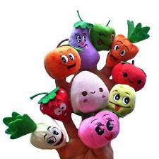 Hot 10Pcs/Lot Cartoon Fruit Finger Puppet Doll Baby Early Educational Plush Toys