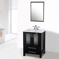 24'' Black Bathroom Vanity Drop in 3 Hole Rectangle Sink Faucert Set Cabinet Mdf