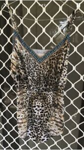 Camilla Franks Leopard Print V Neck Shoestring Playsuit Size 1 Small $4 EXPRESS