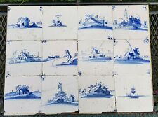 TILE TABLEAU 12 CUT 18th C. DUTCH DELFT BLUE WHITE 'OPEN AIR' TILES RARE PANEL