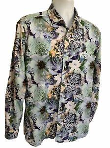 Men's ETRO Floral Print Shirt Long Sleeve Size 42