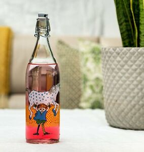 PIPPI LONGSTOCKING Muurla glass bottle with metal clasp 1L