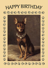 MIN PIN SITTING DOG MINIATURE PINSCHER DOG BIRTHDAY GREETINGS NOTE CARD