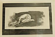 Original Vintage Lucite Framed Pen & Ink Drawing Male Nude Signed E. Gibbel
