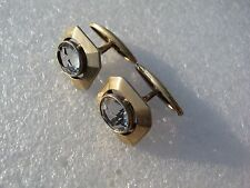 Russian Vintage Silver Gilded Cufflinks With Quartz.