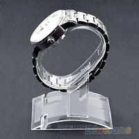 JZ_ New Clear Plastic Wrist Watch Display Rack Holder Sale Show Case Stand Too