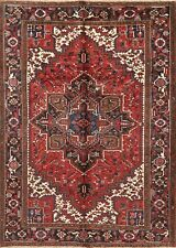 Geometric Medallion Heriz Area Rug 7'x10' Hand-Knotted Wool Oriental Red Carpet