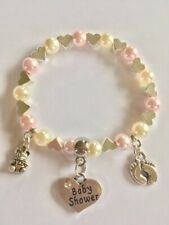 BABY SHOWER charm bracelet gift bag & tag 30+ COLOUR CHOICE