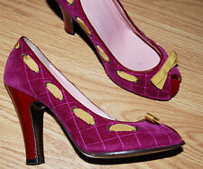 MARC JACOBS quilted fushia pink gold Embellished PUMPS red heels peep toe 8