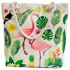 Eco Tote Bag   Rope Handle Flamingo Design Zip Pocket   Support Breast Cancer UK