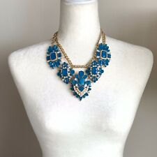 Turqoise Large Necklace With Crystals Runway Shourouk Style Massive Gold Metal