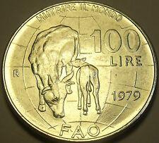 Grand Gem UNC Italie 1979 F. A. O.100 Lire ~ Vache Allaitement Veau