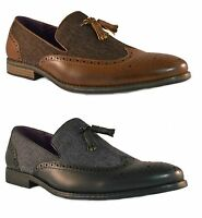 MEN'S FORMAL SLIP ON FAUX LEATHER DENIM LOAFERS SHOES SIZE UK 6 7 8 9 10 11