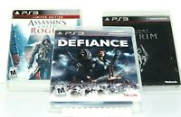 Lot of 3 PS3 Games Defiance / Skyrim / Assassins Creed Rogue Sony PlayStation 3