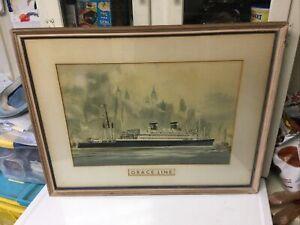 Magnificent Framed Carl G Evers Print Grace Line Ocean Liner Steamship New York