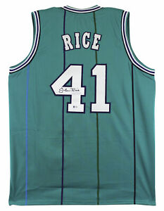 Glen Rice Authentic Signed Teal Pro Style Jersey Autographed BAS Witnessed