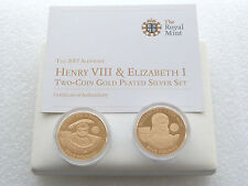 2007 ELISABETTA I/Enrico VIII £ 5 CINQUE STERLINE IN ORO PROOF in ARGENTO 2 MEDAGLIA Set Box COA