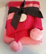 Pink Striped Cotton/Acrylic Knit Throw Blanket with Pom Poms - 50 x 60 - NWT