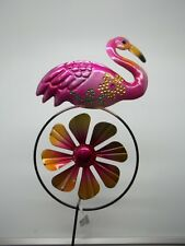 "Indoor Outdoor Metal Garden Yard Stake Pink Flamingo w/ Windmill Sign 21""h #106A"