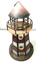 Vtg White RED Stripe Stained Glass Lighthouse Tea Light Candle Hinged Priced Lo