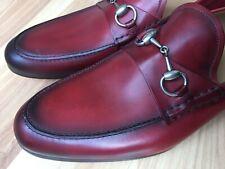 GUCCI Horsebit Burgundy Red Apron Stitch Loafers Size UK 9 (US 9.5) 295652 $650