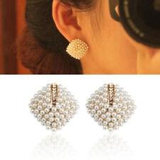 1 Pair Retro Sweet Crystal Rhinestone White Pearl Rhombus Ear Studs Earrings
