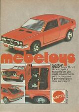 X4339 Mebetoys - Alfasud Sprint - MATTEL - Pubblicità 1976 - Advertising