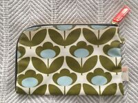 Orla Kiely Etc Zipper Pouch Wild Meadow Flower Pattern Rounded Corner Blue Green