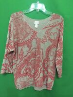 8272) CHICO'S sz 2 beige red pullover cotton blend sweater v-neck 2