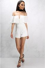 BNWT RARE LONDON@LIPSY WHITE TAILORED SMART FRILLED BARDOT PLAYSUIT SIZE 14 £46