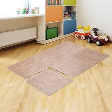 6pc EVA Foam Floor Mat 24 Sq Ft Wood Grain Interlocking Puzzle Tile Exercise Gym