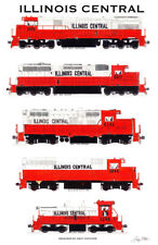 """Illinois Central Locomotives 11""""x17"""" Railroad Poster by Andy Fletcher signed"""