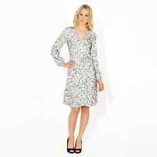 BNWT Ossie Clark silver floral long sleeve v neck dress size 8 RRP £129