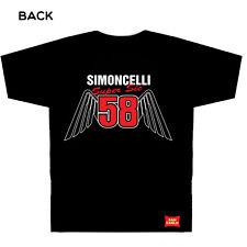 Marco Simoncelli 58` Alas ` Moto Gp Camiseta Negro Sm a XXXL