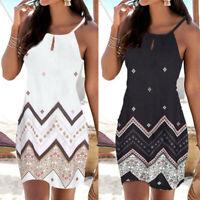 Women Halter Neck Cover Up Boho Print Sleeveless Casual Mini Beachwear Sun Dress