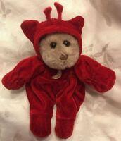 "RARE 8"" Vintage Genich Plush Tiny Brown Red Velour Teddy Bear Hat Moon Pajama"