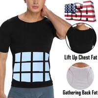 Men's Seamless Slimming Body Shaper Vest Tummy Control Workout Tank Top Shirt US