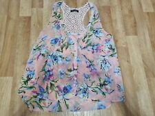 Best Life S/M (8-10) Floral Print Semi Sheer Vest top with Lace Detail