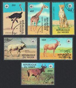 Niger Giraffe Cheetah Emu Bird WWF Endangered animals 6v 1978 CTO