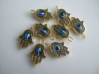 10 Antique Gold Tone Hamsa Hand Of Fatima & Blue Lucky Eye Charms Pendants