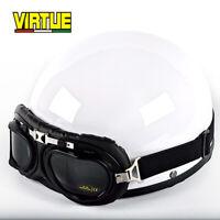Vintage Motorcycle Helmet Half Open Face Unisex Motorbike Helmet w/HD Goggles